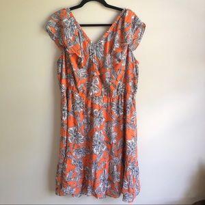 LOFT Plus Abstract Print Flounce Dress